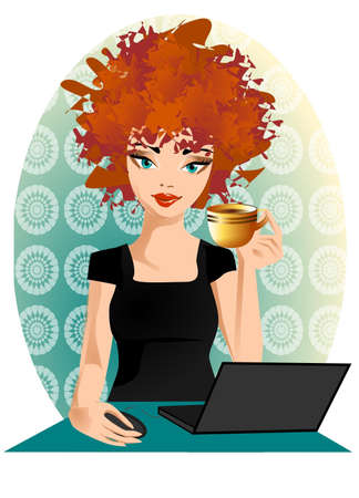 redhead woman: Illustration of a woman at the computer.