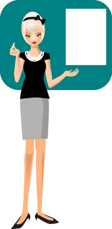 college girl: Illustration of teacher teaching at the
