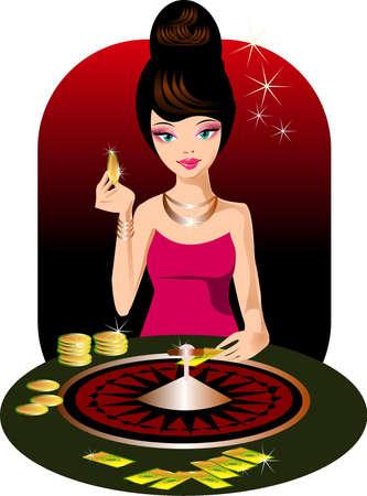 Kasyno. Ilustracja kobiety w kasynie.