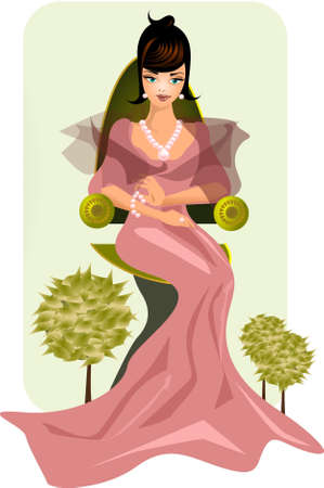 rich girl: the duchess. Illustration of a princess in pastel colors.