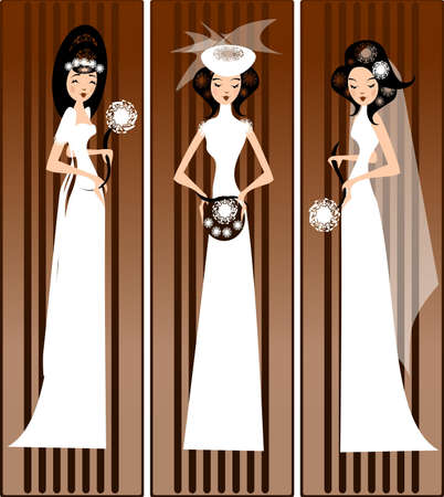 prom: models in bridal dresses illustration of three brides in the wedding dress