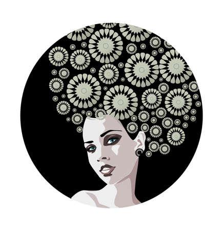 Illustration eines Porträts einer schönen, sanfte Frau.