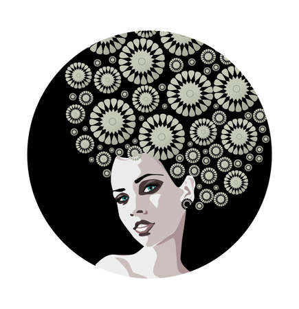 illustration of a portrait of a beautiful, gentle woman. Vector