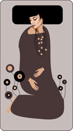 illustratie van een portret van een mooie, zachte vrouw.