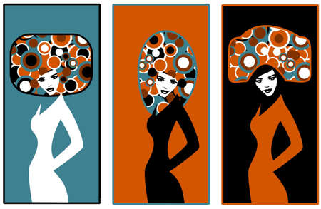 . pop art. Illustration of three silhouettes of women Vector