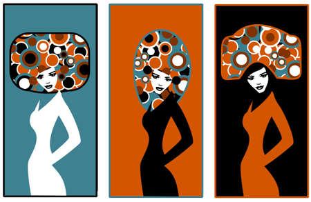 . pop art. Illustration of three silhouettes of women Stock Vector - 9597158