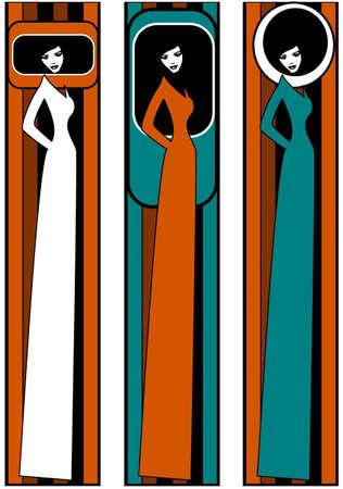 . pop art. Illustration of three silhouettes of women. Illustration