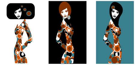 Ilustraci�n de tres siluetas de mujeres  Vectores