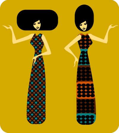 Illustration of three silhouettes of women  Illustration