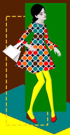 Ilustraci�n de una mujer retro pop art