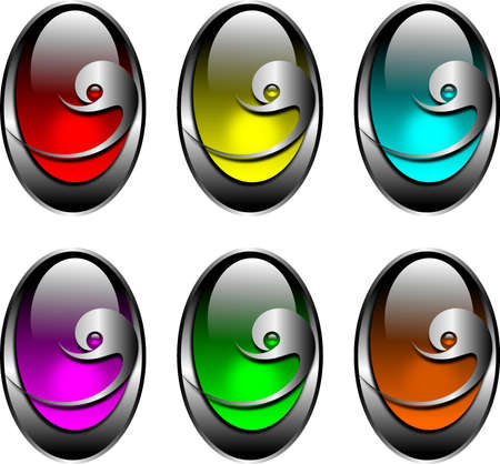 gemstone: silver buttons with a glass eye for web pages