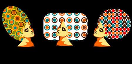 Tres mujeres con cabello afro en la cabeza