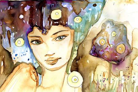 Acuarela ilustraci�n de un retrato de una ni�a en verano. Foto de archivo