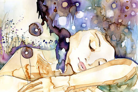 watercolor blue: Watercolor illustration of a girl sleeping Stock Photo