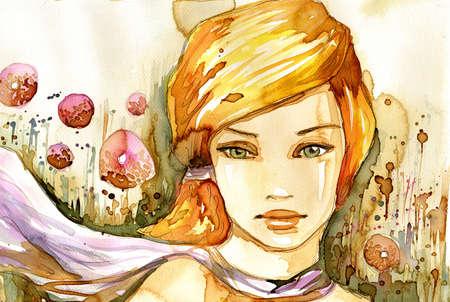 caritas pintadas: Acuarela ilustración de un retrato de una niña en verano. Foto de archivo