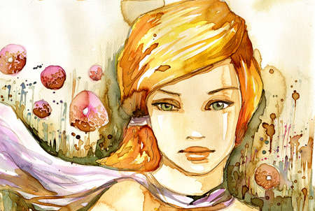 Watercolor illustration of a portrait of a girl in summer.  illustration