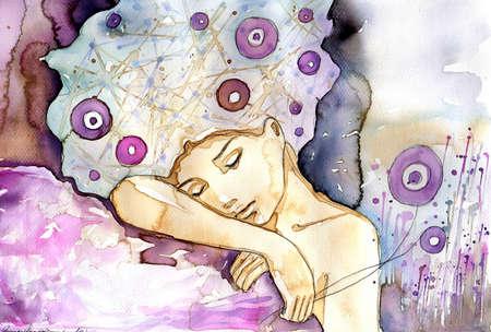 Acuarela ilustraci�n de una ni�a durmiendo