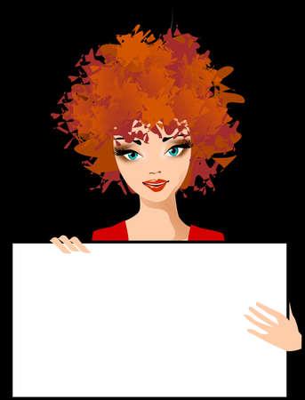 Pień fotografia: Ilustracja kobiety z zaproszeniem na białym tle. Ilustracje wektorowe