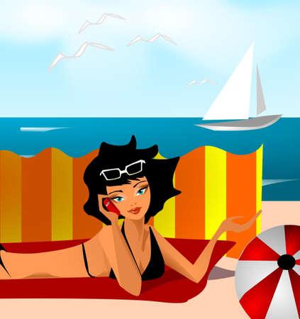 siesta: saluti di vacanza Vettoriali