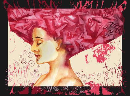 Mujer de ilustraci�n con un pelo rojo sexy.