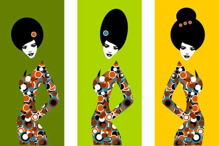 art back: Illustration of three silhouettes of women  Illustration