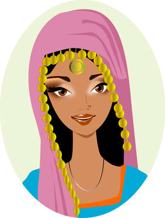 teen culture: Portrait of a Hindu. Illustration representing a portrait of a beautiful Indian a handkerchief.