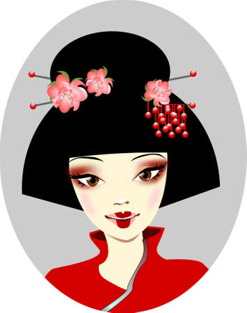 geisha: Portrait of Japan. Illustration of a portrait of the Japanese geisha.