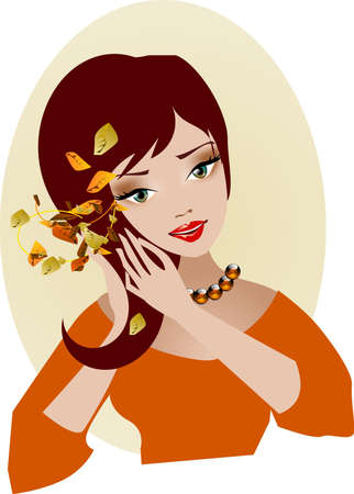 autumn woman: Portrait of autumn. Illustration of a woman plugging in hair leaves.  Illustration