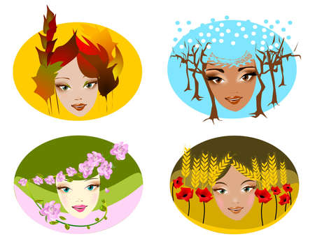 Portraits of four seasons. Illustration of abstract portraits of the four seasons Stock Vector - 10252160