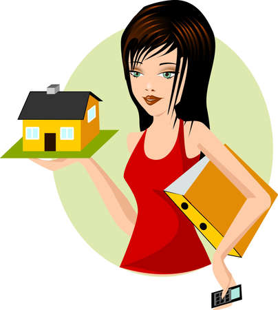 architect. Illustration of a woman with a model home Stock Vector - 10540960