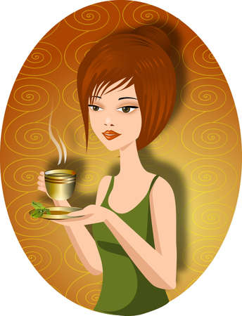 woman drinking tea:  A pretty woman with a cup of  hot green tea Illustration