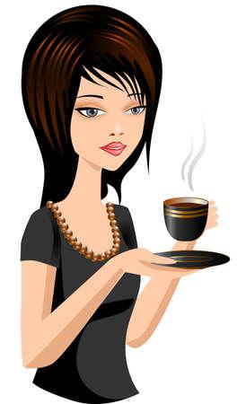 oficinista: Una hermosa mujer con una taza de café caliente.