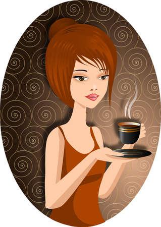Foto genérica: Una mujer bonita con una taza de café caliente.