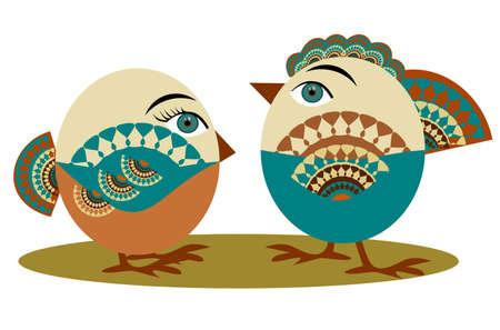 Ilustraci�n de un aves en el estilo de folclore