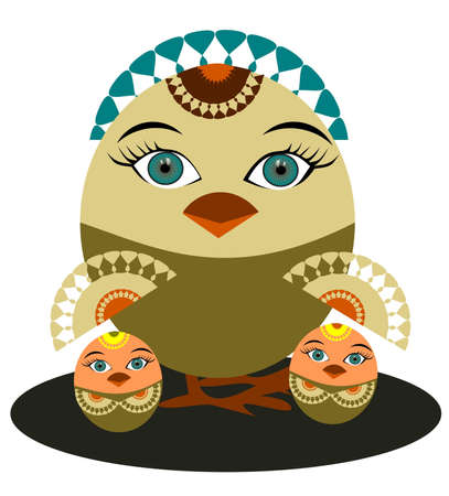 Illustration of a birds in the style of folklore Vector
