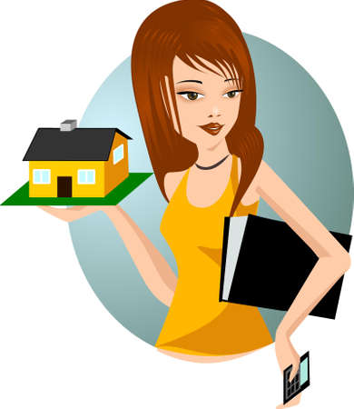 model home: architect. Illustration of a woman with a model home