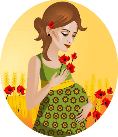 radon: Illustration of a pregnant woman. Illustration