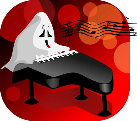 music stave: Spirit at the piano. Illustration of a ghost playing the piano