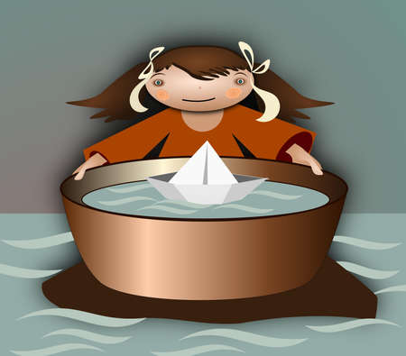 suffering: Lonely island. Illustration of a girl on a tiny island with a small boat. Illustration