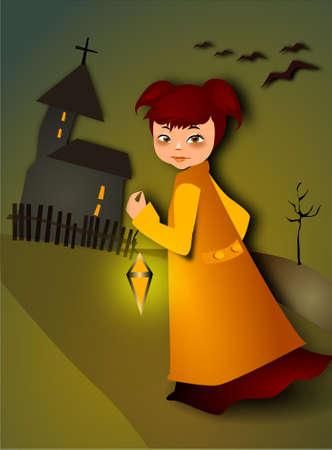 catholic mass: Roraty. Illustration of a girl with a lantern.