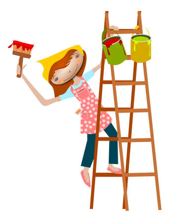 Painter girl. Illustration of a girl on a ladder with paint and brush.  Vector