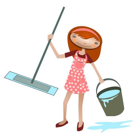 seau d eau: Cleaner. Illustration d'un nettoyeur avec une vadrouille et un seau