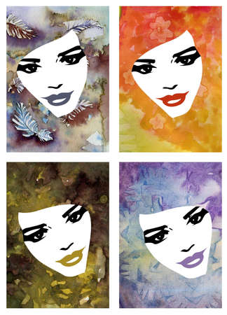 four whoman and watercolor portraits of avant-garde women photo