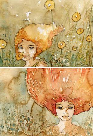 acuarela de dos ilustraci�n que representa un retrato de una hermosa ni�a
