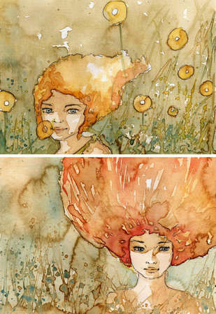 watercolor  two illustration depicting a portrait of a beautiful girl Imagens