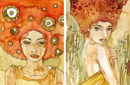 shame: watercolor two illustration depicting a portrait of a beautiful girl