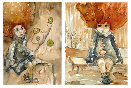 upset woman: two watercolor paintings in the fabulous scenery
