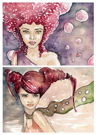 dos pinturas de acuarela en el fabuloso paisaje