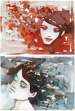 Stock Photo: watercolor portrait of a sensual woman. photo