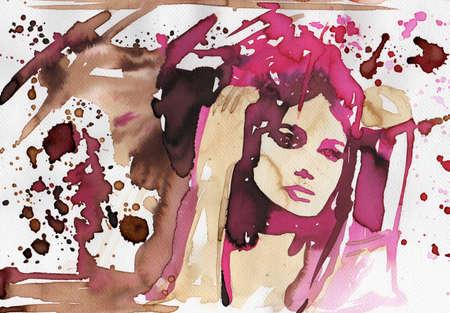 pleasing: Stock Photo: watercolor portrait of a sensual woman.